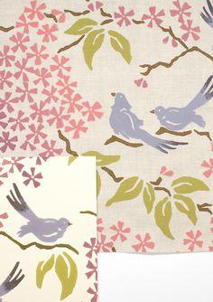 Custom Birds Wallpaper and Fabric - Birds of a Feather | Galbraith & Paul