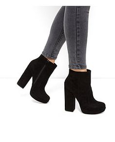 Bottines noires à talons bloc | New Look
