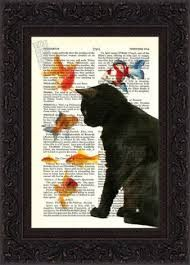 Cat Lover Print Black Cat with Goldfish Print on repurposed vintage page Book Art Print Mixed Media Book Page Art, Book Art, I Love Cats, Crazy Cats, Black Cat Art, Black Cats, Newspaper Art, Illustration Art, Illustrations