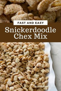 Snickerdoodle Chex Mix is basically snickerdoodle cookies in snack form! Rice cereal coated in white chocolate then tossed in cinnamon sugar.
