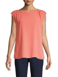 Calvin Klein Collection Embellished Boatneck Top In Porcelain Rose Calvin Klein Collection, Boat Neck, Cap Sleeves, Pullover, Stylish, How To Wear, Clothes, Shopping, Porcelain