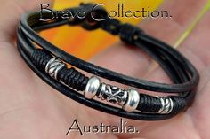 3B-102 Finely Made Sterling Silver Leather Red Tiger Eye Wristband Men Bracelet.