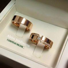 Par de Alianças em Ouro rose e Diamantes - LUDOVICA