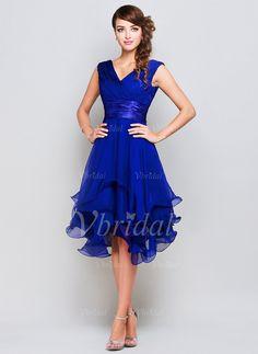 A-Linie/Princess-Linie V-Ausschnitt Knielang Chiffon Charmeuse Abendkleid mit Rüschen (0175060146)