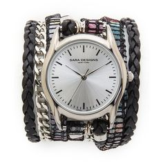 Sara Designs Candy Wrap Watch - Candy (2 735 ZAR) ❤ liked on Polyvore featuring jewelry, watches, wristwatches, pandora jewelry, blue dial watches, water resistant watches and dial watches
