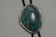 Large Cabochon Turquoise Gemstone Bolo Tie Vintage Southwestern Jewelry
