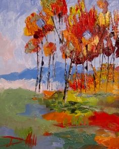 Abstract Trees, painting by artist Delilah Smith...love this mix of colors and splashes