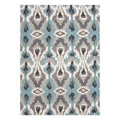 Define an area in your living room or master suite with this looped rug, showcasing an ikat motif in blue, gray, and black.   Product: ...
