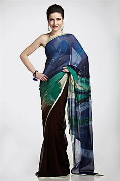Royal blue digital print saree | Satya Paul
