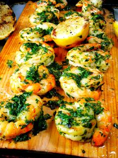 Cedar Planked Shrimp with Parsley Pesto Sauce by prouditaliancook #Shrimp #Parsley_Pesto