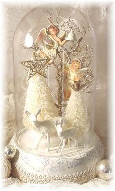 Dome Angels Trash to Treasure Art http://trashtotreasureart.blogspot.com/2011/11/white-wednesday-and-little-christmas.html