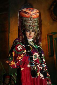 "uzbek tribal clothes"", ethnic textiles, suzani dress, silver jewellery, tradtional costume, Uzbekistan"