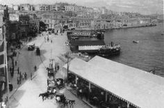 The Ferries Sliema, Malta. The large horse shelter and the ferry piers clearly shown on the right. Old Images, Old Pictures, Old Photos, Malta Gozo, Malta Sliema, Maltese People, Malta History, Horse Shelter, Malta Island