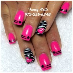 Fabulous Nails, Gorgeous Nails, Pretty Nails, Zebra Nail Designs, Rock Star Nails, Valentine Nail Art, Diva Nails, Get Nails, Finger