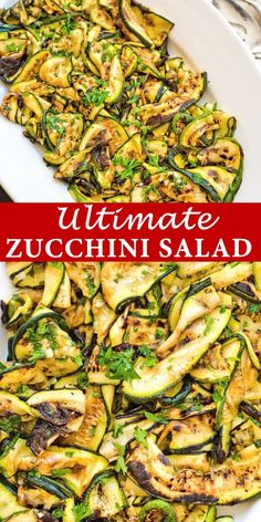 This Roasted Zucchini Salad is so flavorful and healthy, youll want to make it over and over again! Seasoned with lemon-parsley dressing, it requires only 5 ingredients! Cooktoria for more deliciousness! Vegan Dinners, Healthy Dinner Recipes, Healthy Snacks, Cooking Recipes, Easter Dinner Recipes, Vegan Recipes Healthy Clean Eating, Skinny Recipes, Easy Snacks, Grilling Recipes
