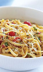 Linguine with Roasted Red Peppers, Tomatoes & Toasted Breadcrumbs Recipe