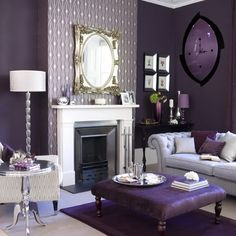 Attractive purple living room furniture Photographs, Gorgeous Inspirational Purple Interior Designs You Must See Or 14 Living Room Design With Sofa Home Interior, Purple Interior, Stylish Interior, Modern Interior, Interior Designing, Luxury Interior, Decoration Baroque, Decoration Bedroom, Living Room Ideas
