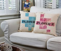 Player One Player Two Gamer Couple Throw Pillows - Relax against these gaming pillow covers with your special someone while playing your favorite video game. They make decorating fun and easy! Save to your board for later. #roomcraft