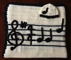 Lullaby Baby Blanket and Hat Set with Music Note Appliques by Sara Leighton