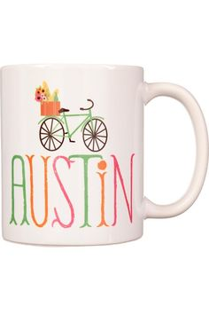 This super cute mug celebrates our favorite city of Austin, Texas and one of its favorite pass times, bikes! White mug features colorful decoration. Buy now!