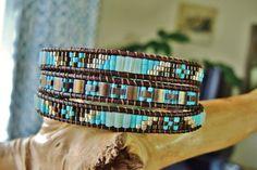 JR. Creme de MENTHE Triple Wrap Antique by BraceletsofBlueRidge Leather Jewelry, Boho Jewelry, Beaded Jewelry, Handmade Jewelry, Beaded Wrap Bracelets, Jewelry Bracelets, Bracelet Making, Jewelry Making, Twin Beads