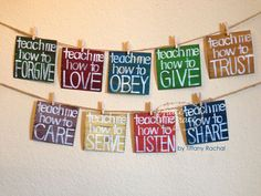 On Etsy, for a Nursery! Teach Me PRINTS -Nursery - Child's Room, Classroom Decor, Home Decor, Faith Based Art - Grace for Grace by Tiffany Rachal Hooray! The printed version of my best selling ORIGINAL Sunday School Rooms, Sunday School Classroom, Sunday School Crafts, Church Nursery Decor, Kids Church Decor, Church Ideas, Kids Church Rooms, Children Church, Church Decorations