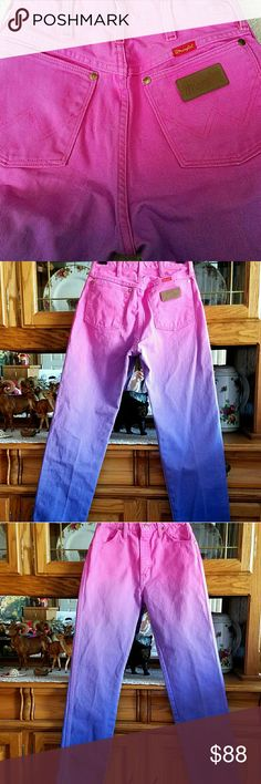 WRANGLERS~OMBRE~RARE~VINTAGE VINTAGE~RARE~OMBRE~WRANGLERS HOT PINK&PURPLE, CRISP WRANGLER FEEL NEVER BEEN WORN~GORGEOUS LOOK W26 L31/32 Wrangler Jeans
