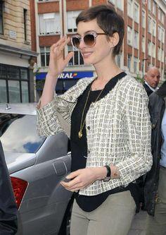"Anne Hathaway wearing ""LIVELY"" c: Clear & Gold  #eyewearbyolga #sunlasses #fashion #luxury #ThierryLasry #sunglasses #eyewearbyolga #eyewear #luxury #boutique #lively #clear #gold"