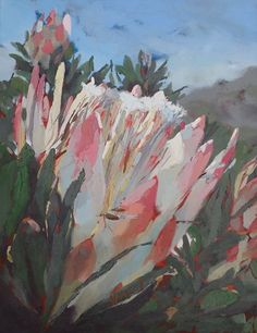 Silvermine protea. Oil. www.mybrushwithlife.co.za Protea Art, Abstract Flower Art, Flower Artists, Plant Painting, King Art, Expressive Art, Contemporary Abstract Art, Nature Paintings, Botanical Art