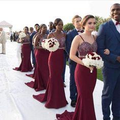 Burgundy, elegant, bridesmaid dress