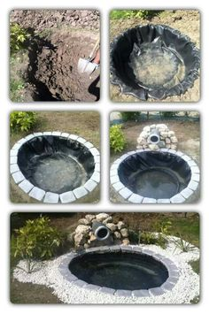 Make pond from old tire