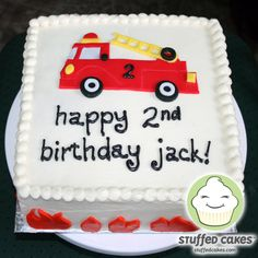 What little kid wouldn't love this cake? I made this cute fire truck cake for Jack's birthday. A bright red truck, complete with a yello. Birthday Cake Kids Boys, Truck Birthday Cakes, Firefighter Birthday, Truck Cakes, 2nd Birthday, Birthday Ideas, Birthday Images, Happy Birthday, Fire Truck Cupcakes