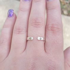 Recent order for a sterling silver initials open cuff ring.  #sterlingsilver #etsyshop #jewelry #ring #instaring #instajewelry #instafashion #style #trendsetter #fashion #minimalista #minimalstyle #etsy #silver #initials #ilovemyjob #iloverings #handmadehustle #handmade #jennascifres