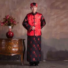 Embroidered Tang Suit Chinese Men's Changshan for Wedding