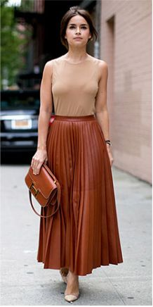 Leather pleated skirt, perfect street style meets work style!