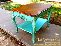 Table is painted in CeCe Caldwell's Santa Fe Turquoise then Distressed and Glazed in a Deep Whiskey Hue.  Santa Fe Turquoise Table