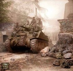 """pavelnkhv: """" The British Army in Italy 1943 A Sherman tank passes through Nicastro, 11 September 1943. """""""