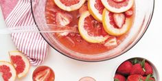 Strawberry, Grapefruit, and Chamomile Brunch Punch. (Includes chamomile tea, bourbon, and grapefruit juice) Brunch Punch, Colorful Cocktails, Summer Cocktails, Fancy Drinks, Bourbon Cocktails, Cocktail Recipes, Joy The Baker, Punch Recipes, Drink Recipes