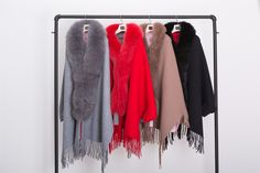 fox fur shawl ,USD104.eileenhou.gray ,red,khaki,black color.double-faced