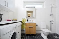 Swedish home with compact shower area in the corner of the bath/laundry room.