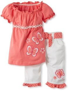 0cdcaee794c9 Amazon.com: Young Hearts Baby-Girls Infant 2 Piece Butterfly Twill Capri Set