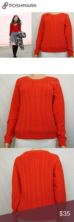 """J Crew Cable Knit Sweater Heavy Cotton Black Label J Crew Cable Knit Sweater Heavy Cotton Black Label Sz M Orange   Excellent Condition!  Please see pictures for additional details.  Measurements (all approximate)  Size: M Bust: 36"""" (pit-pit*2)  Length: 22"""" Sleeve: 26"""" (from neck-line hem)  We ship within 24 hours  Please note: All items are cross-posted, if they sell on another platform I will delete the Posh listing. All items are shipped securely packed with love but without added waste…"""
