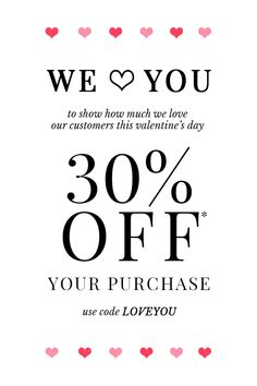 We Love Our Customers! Now through Valentine's Day, take 30% off your full priced purchase. Use code LOVEYOU at checkout.   Treat yourself and visit www.shoptheshoppingbag.com to start shopping!