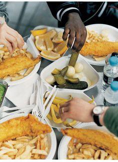 Rezept für Fish ´n´Chips mit frischem Erbsenpüree
