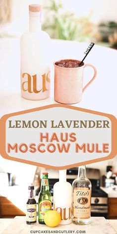 Try this Lemon Lavender Haus Mule! It's a tasty twist on a classic Mule with vodka and Lemon Lavender Haus wine. This easy recipe is great for spring and summer! Lavender Syrup, Lavender Lemonade, Lavender Tea, Vodka Recipes, Cocktail Recipes, Vodka Cocktail, Drink Recipes, Lemon Vodka, Moscow Mule Recipe