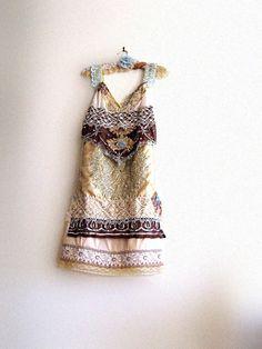 Marrakesh Dress, Antique Embroidery, Vintage Lace, Antique Lace, Nutmeg, Bohemian, Magazine Feature. $395.00, via Etsy.