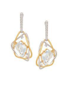 Mia by Tanishq 6.04 g 14-Karat Gold Precious Earrings with Diamonds & Topaz