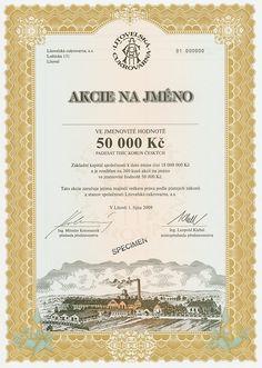 HWPH AG - Historische Wertpapiere - Litovelská Cukrovarna / Litovli, 01.10.2009, Specimen einer Aktie über 50.000 Tschechische Kronen, nullgeziffert