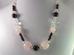 Rose Quartz Crystal Quartz Garnets Necklace by NaturesJewelsByVina