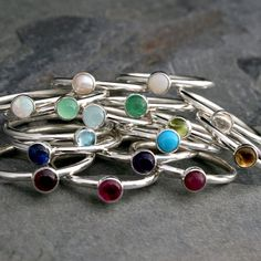 Birthstone Stacking Rings, Sterling Silver, Mother Custom Personalized Jewelry, Multi Color Unique Set Gemstone Jewel Birth Stone Stackable